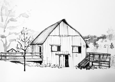 black and white sketch of barn with ramp leading in and deck with stairs