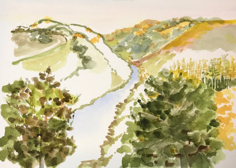 Watercolor sketch of river valley and hills