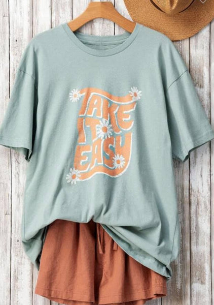 Take it Easy Daisy Tee: Sage