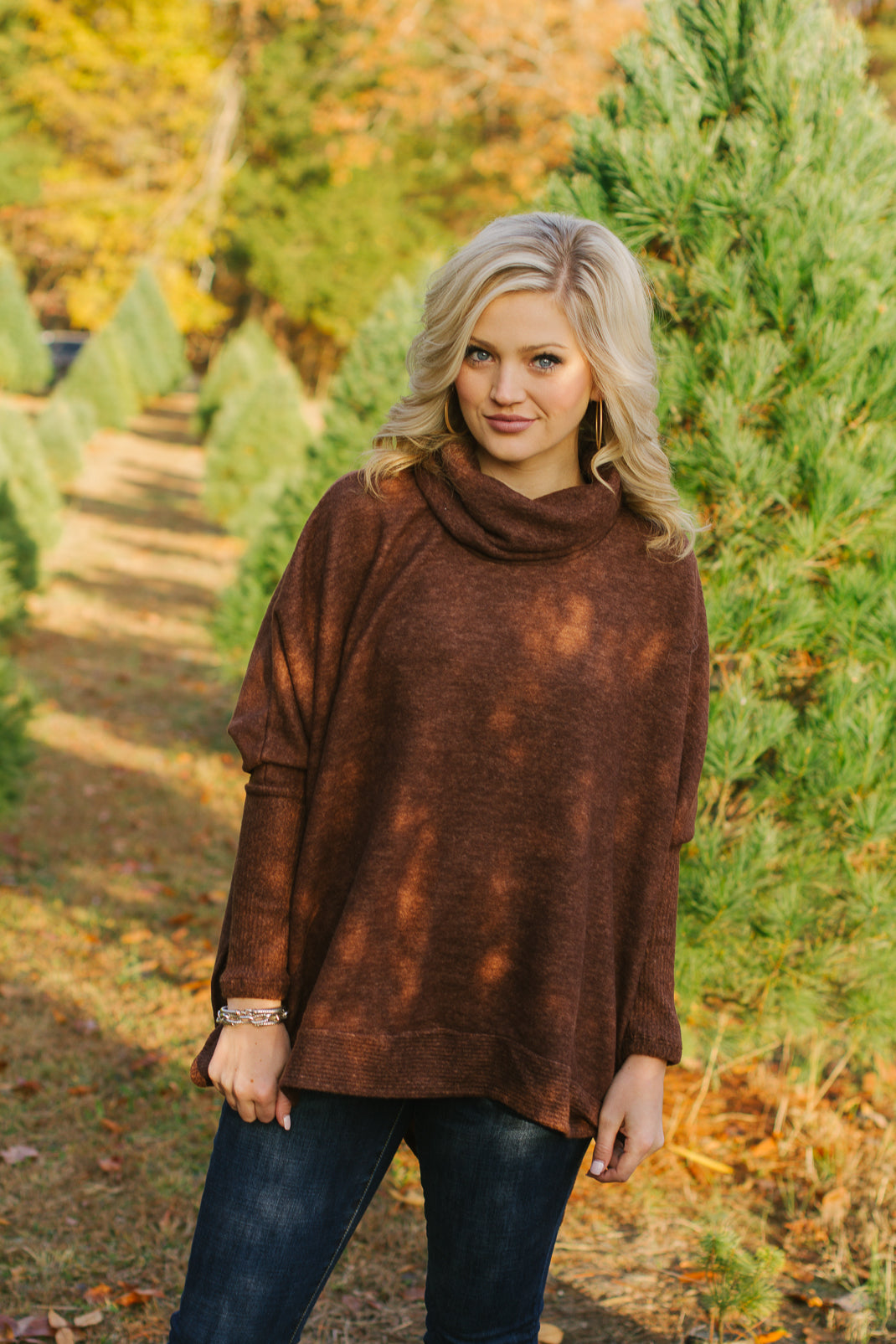Cozy Cowl Neck: Brown