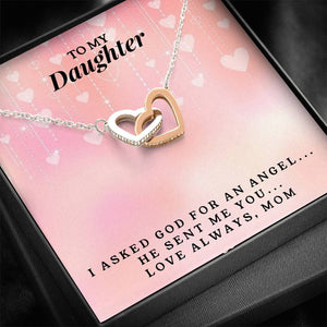 To My Daughter - Interlocking Heart Necklace