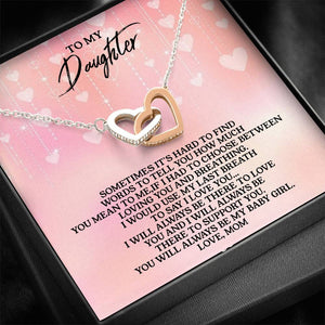 To My Daughter - Love, Mom - Interlocking Heart Necklace