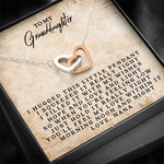 To My Granddaughter - Love, Nana - Interlocking Heart Necklace