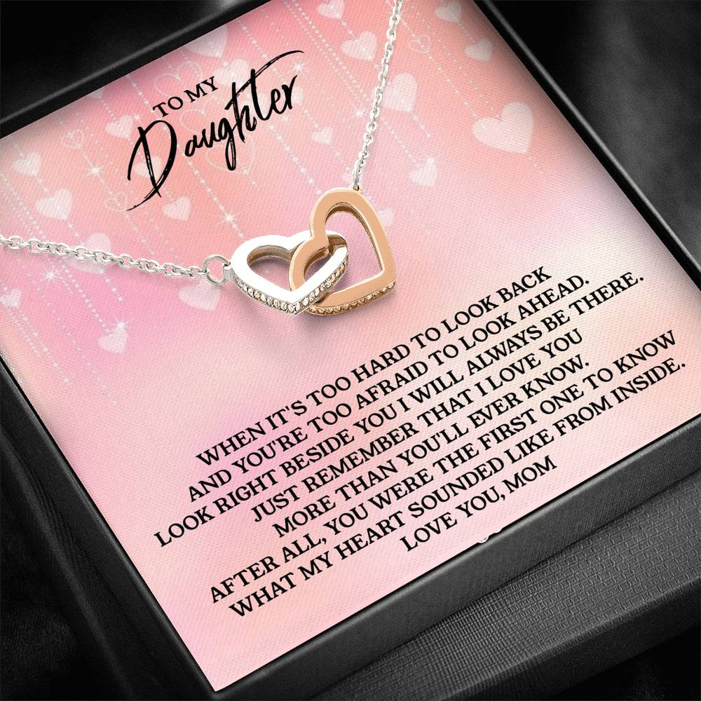 To My Daughter - Love, Mom - Interlocking Heart Necklace (H02)