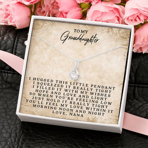 To My Granddaughter - Alluring Beauty Necklace Made With Pure Zirconia and Premium Gold Finish - Customizable Gift