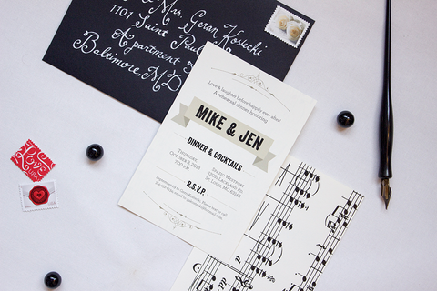 Music-Themed Rehearsal Dinner Invitation