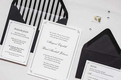 Black Tie Wedding Invitation Suite
