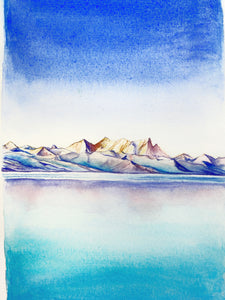 Ice Mountain Watercolor Painting 6x9""