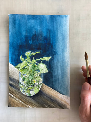 Basil Original Painting, 6x9""