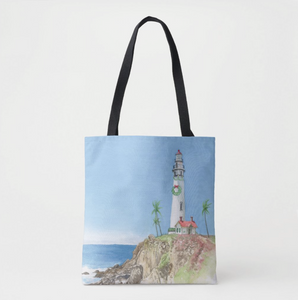 Holiday Lighthouse Tote Bag