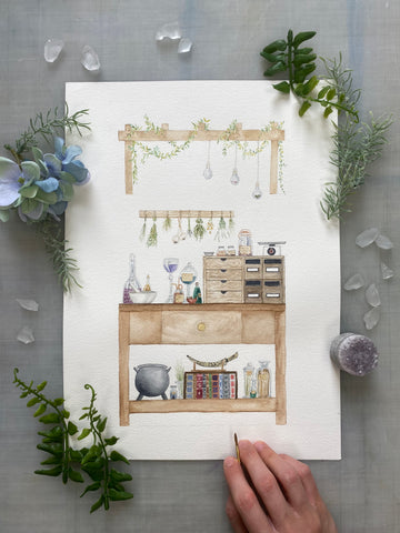 Apothecary Original Watercolor Painting