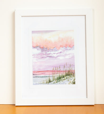 Sunset Beach Watercolor Print