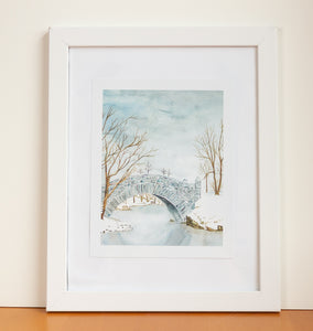Snow Bridge Watercolor Print