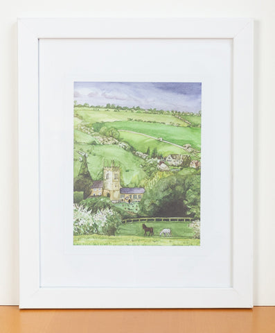 English Countryside Watercolor Print