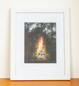 Campfire Watercolor Art Print
