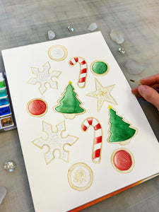 Holiday Sugar Cookies Watercolor Painting, 9 x 12""