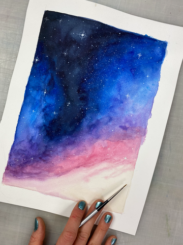 Dark Nebula Sky Original Painting, 9x12""