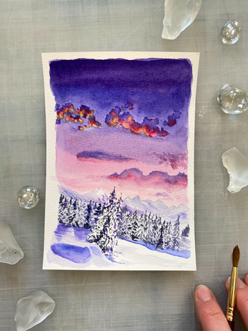 Winter Sunset Watercolor Mini Painting