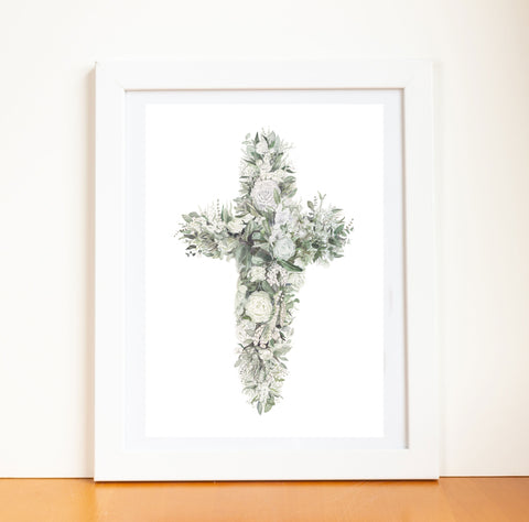 Floral Cross Watercolor Print