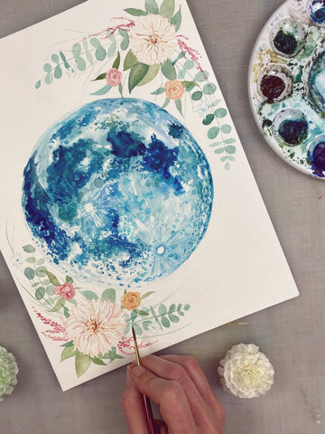 Flower Moon Original Painting 9x12""