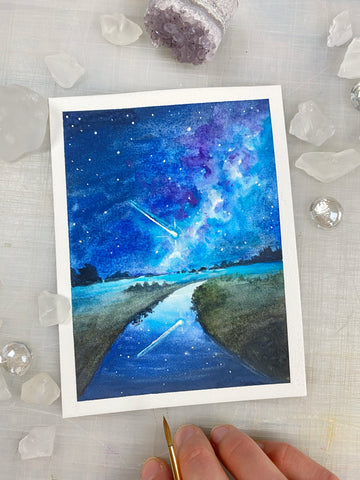 Mini Meteor Shower Watercolor Painting, 4.5 x 6""