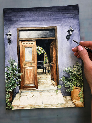Open Door Original Watercolor Painting, 9x12""