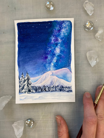 Winter Galaxy Watercolor Mini Painting