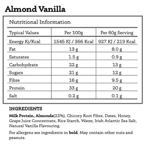 All Real Protein Bar: Almond & Vanilla 60g Nutritionals