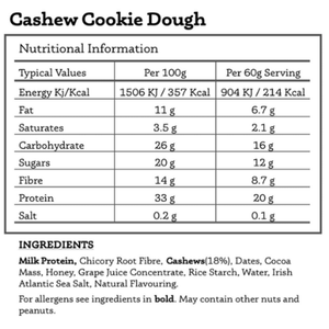Load image into Gallery viewer, All Real Protein Bar: Cashew Cookie Dough 60g. Nutritionals