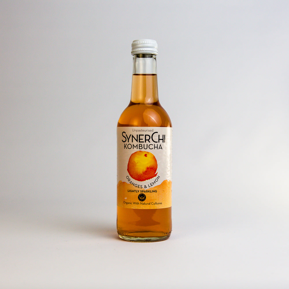 Synerchi Live Kombucha - Sencha Tea Lightly Sparkling: Oranges & Lemons