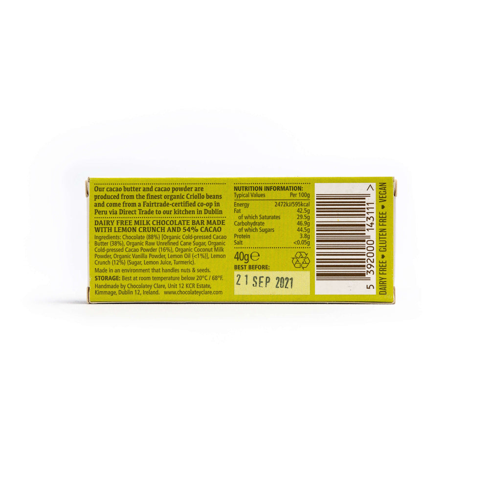 Chocolatey Clare Lemon Crunch Dairy Free Chocolate Bar: 40g