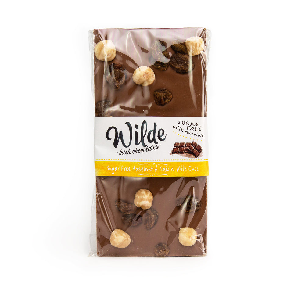 Wilde Irish Chocolate: Sugar Free Hazelnut & Raisin Milk Chocolate.
