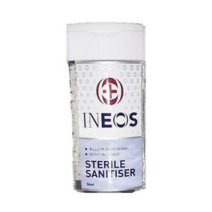 INEOS 50 x 50ml STERILE HAND SANITISING GEL HOSPITAL GRADE - Carton Size  50 x 50ml UNITS (£0.75 per bottle)
