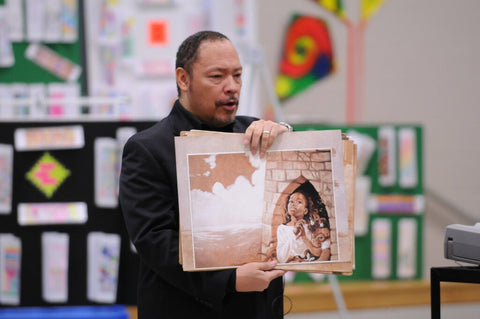 Floyd Cooper in 2011. His luminous illustrations in children's books captured moments in African American history.Credit...Ben Hasty/MediaNews Group and Reading Eagle, via Getty Images