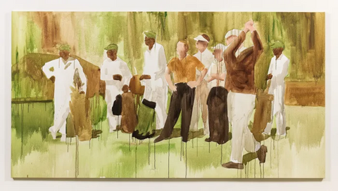 """Henry Taylor's """"We Was Watching Him, but They Really Was Watching Us"""" shows four Black Masters caddies with a foursome that includes Ben Hogan, swinging, and Arnold Palmer, hands on hips.  Courtesy: Henry Taylor and Hauser & Wirth 
