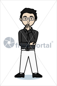 Casual professional, illustrated business avatar, stock vector (#SC007)