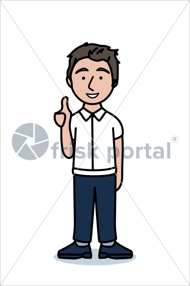 Casual professional, illustrated business avatar, stock vector (#SC008)