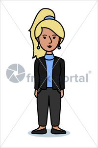 Casual professional, illustrated business avatar, stock vector (#SC001)
