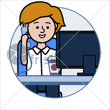 Professional working, illustrated business avatar, stock vector (#CI001)