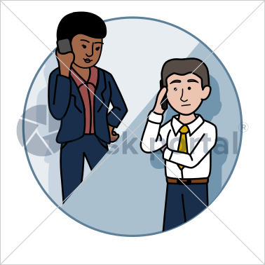 Professional working, illustrated business avatar, stock vector (#CI004)