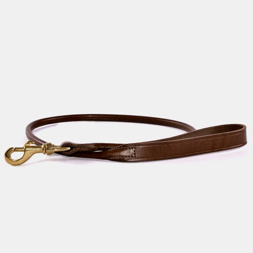 Brown leather dog lead with brass clasp