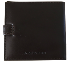 Load image into Gallery viewer, Brown leather shotgun licence wallet with logo