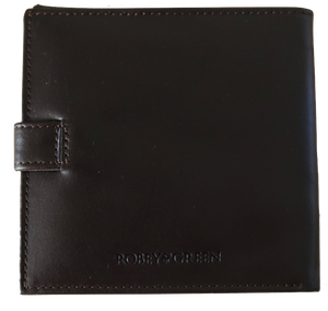 Brown leather shotgun licence wallet with logo