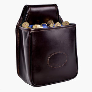 Audley leather open top cartridge pouch with shotgun cartridges