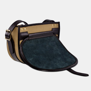 Suede lined Cavendish canvas and leather cartridge bag