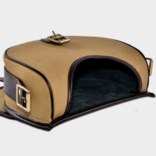Load image into Gallery viewer, Open canvas and leather cartridge bag with suede lining