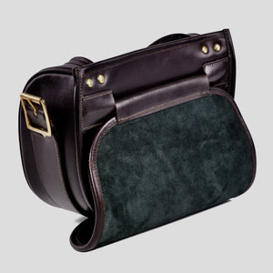 Ebury brown leather cartridge bag open with suede lining