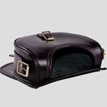 Load image into Gallery viewer, Ebury brown leather cartridge bag open with green suede lining