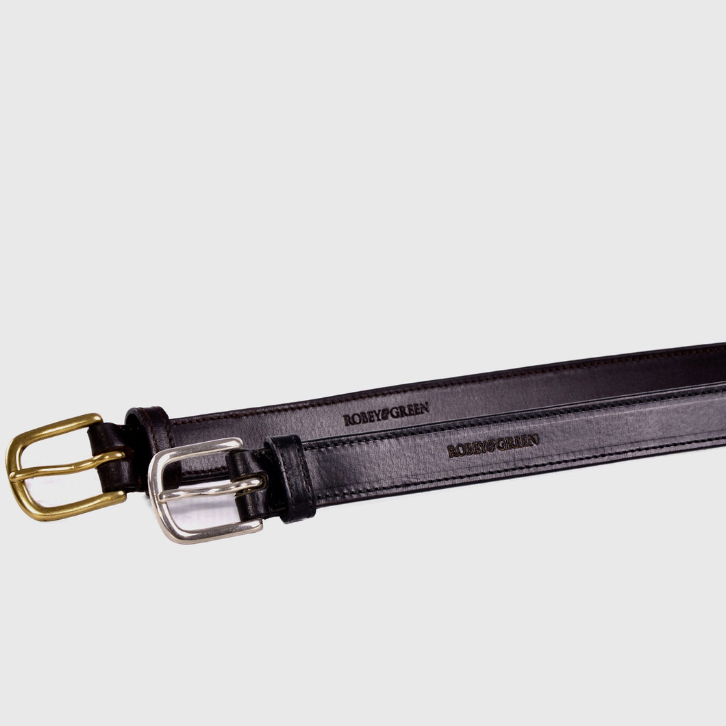 Sloane black leather belt with silver buckle and brown leather with gold buckle