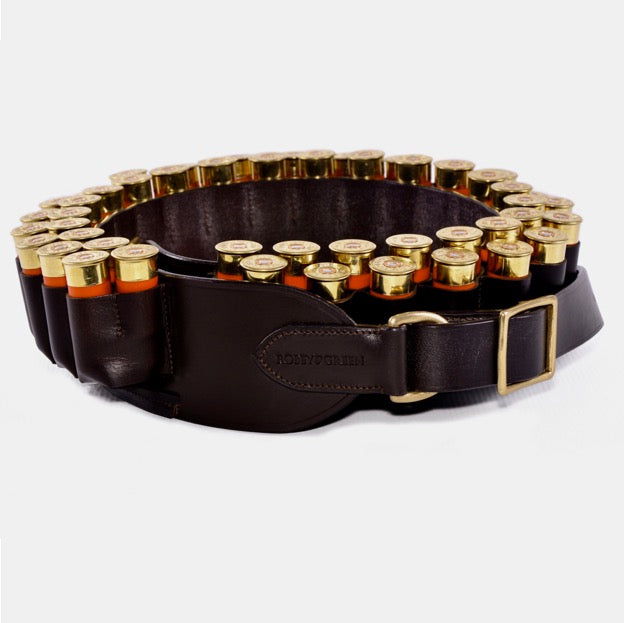 Coiled brown leather double cartridge belt 12g